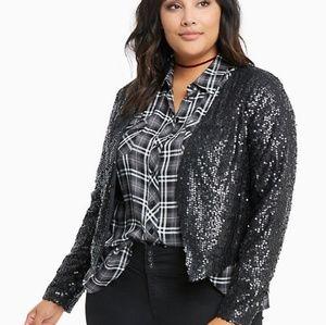 Nwot Torrid drape front sequin jacket 3 3x